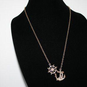 Gold anchor Nautical necklace